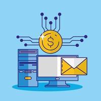 Money, finances and technology concept design vector