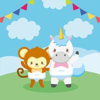 Baby shower card with cute animals vector