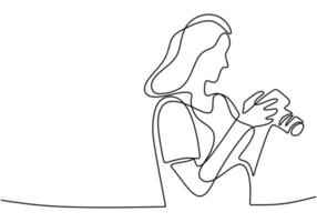 A girl taking photo with her camera. One line continuous. vector