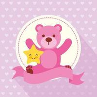 tarjeta de baby shower con lindo osito de peluche vector