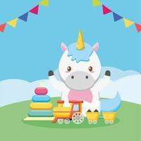 tarjeta de baby shower con lindo unicornio vector