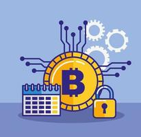 Money, finances and technology concept with bitcoin icon vector