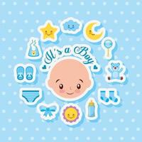 tarjeta de baby shower con chico lindo e iconos vector