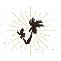 Retro palm silhouette logo.