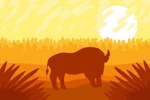 Landscape with wild bizon on field vector
