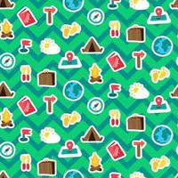 Camp, tourism and travel seamless pattern vector