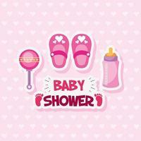 tarjeta de baby shower con lindos zapatos y accesorios. vector