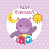 Baby shower card with cute hippo vector