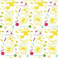 Fashion memphis bright seamless pattern with sun vector