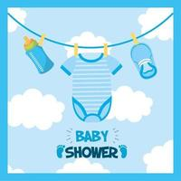 Baby shower card with clothes hanging vector
