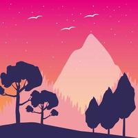 Wanderlust landscape with trees and mountain scene vector
