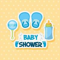 Baby shower card with cute shoes and accessories vector