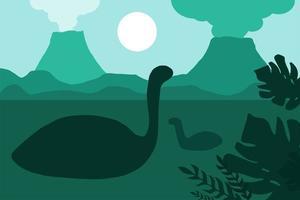 Floating dinosaurs near volcanoes vector