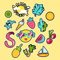 Vector Tropical Summer Stickers