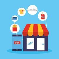edificio de tienda con tecnología de compra online vector