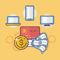 Money, finances and technology concept with electronic devices vector