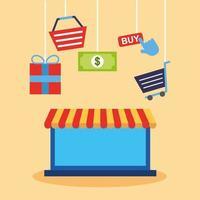 portátil con iconos de tecnología de compras en línea vector