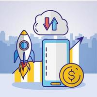 Money, finances and technology concept design with smartphone icon vector