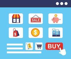 paquete de iconos de tecnología de compras en línea vector