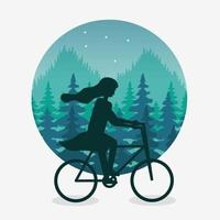 Wanderlust landscape with woman in bicycle scene vector