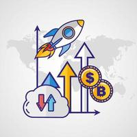 Money, finances and technology concept with rocket launching vector