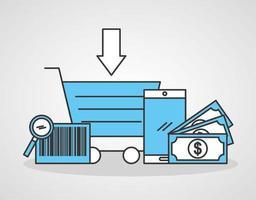 carrito de compras con iconos de tecnología de compras en línea vector