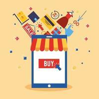 teléfono inteligente con iconos de tecnología de compras en línea vector