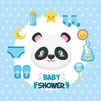 Baby shower card with cute panda bear and icons vector