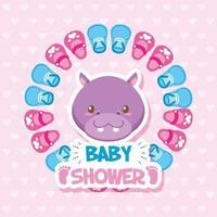 tarjeta de baby shower con lindo hipopótamo vector