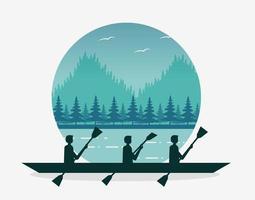 Paisaje de pasión por los viajes con lago y equipo practicando remo. vector