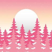 Wanderlust forest landscape with full moon scene vector