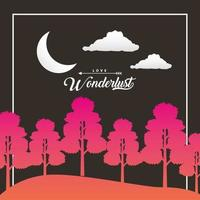 Wanderlust forest landscape with crescent moon scene vector