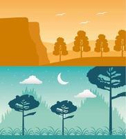 escena de paisajes de pasión por los viajes vector