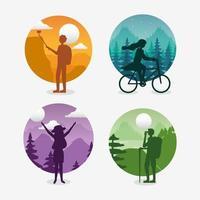 iconos de paisajes de pasión por los viajes con turistas vector