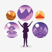 paisaje de pasión por los viajes con escena de mujer turística vector