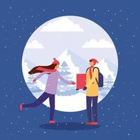 Couple doing outdoors activities in the snow vector
