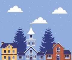 City in a winter landscape scene vector