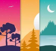 Wanderlust landscapes scene set vector
