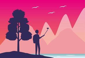Wanderlust landscape with tourist man taking a selfie vector