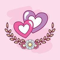 feliz dia de san valentin tarjeta con corazones vector
