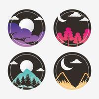 conjunto de iconos de paisajes de pasión por los viajes vector