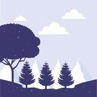 Forest landscape scene background vector