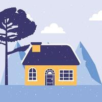 casa en escena de paisaje de invierno vector