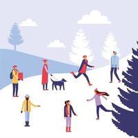 People doing outdoor activities in winter vector