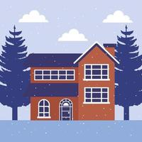 house in winter landscape scene vector