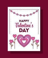 feliz dia de san valentin tarjeta con corazon vector