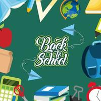 back to school poster with supplies background vector