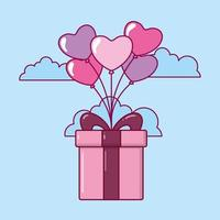 Valentine's Day design with cute gift box vector