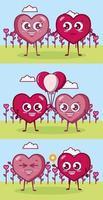 diseño de san valentín con personajes de corazón vector