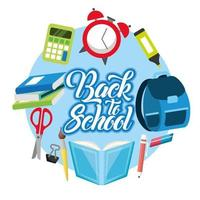 Back to school poster with school materials vector